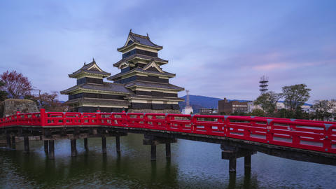 Day to night timelapse of Matsumoto Castle the famous place in Nagano, Japan Live Action
