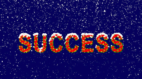 New Year text text SUCCESS. Snow falls. Christmas mood, looped video. Alpha Animation