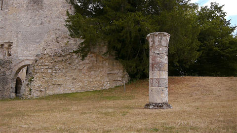 Destroyed pillar at ruined abbey of Jumieges, Normandy France Footage