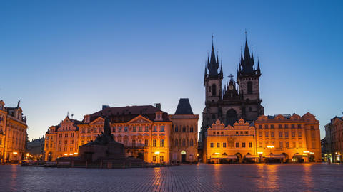 Night to day timelapse in Prague old town square in Prague, Czech Footage