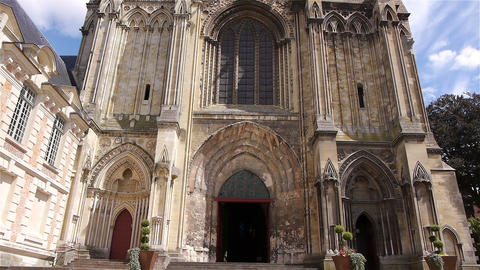 Exterior of cathedral in Lisieux, Normandy France, TILT Footage