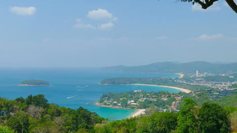 Ocean and coastline from high view point. Phuket Footage