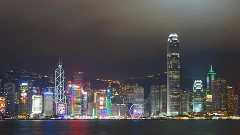 Light show in Hong Kong at night. Pan timelapse Footage