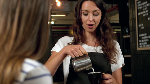 Barista preparing coffee Live Action