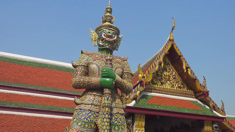 Giant demon statue in Wat Phra Kaew in Bangkok Footage