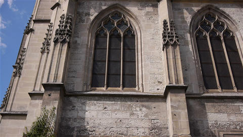 Side exterior of church in Lisieux, Normandy France, TILT Live Action
