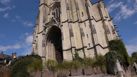 Front exterior of church in Lisieux, Normandy France, TILT Footage