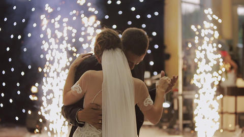 Beautiful young newlyweds dancing their first dance Live Action