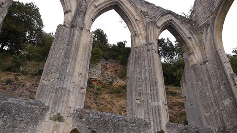 Ruined exterior details of priory of Beaumont le Roger, Normandy France, PAN Footage