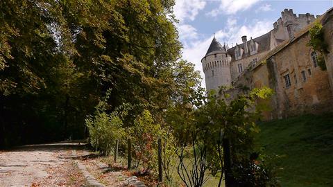 NOGENT-LE-ROTROU, FR - AUGUST 23. 2018: Château des comtes du Perche, trees, Footage