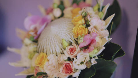 Bouquet on wedding day Stock Video Footage