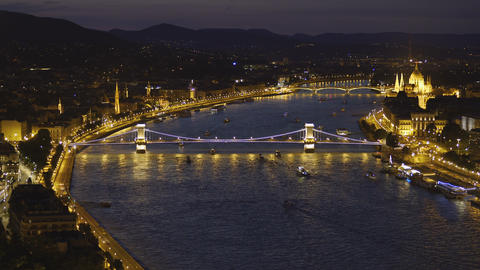 Stunning evening view of the Szechenyi Chain Bridge in Budapest, Hungary Live Action