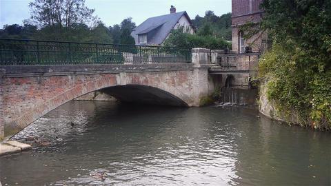 Bridge in Broglie, Normandy France Live Action