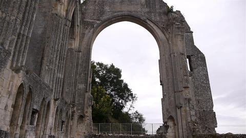 Exterior details of priory of Beaumont le Roger, Normandy France, TILT Footage