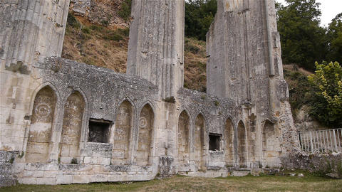 Ruined exterior details of priory of Beaumont le Roger, Normandy France, TILT Live Action