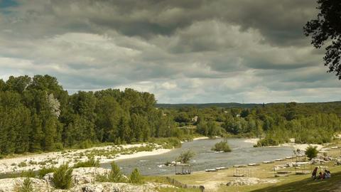 Gardon river at Pont du Gard Live Action