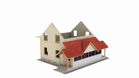 Home construction. Build structure. Time-lapse 3d animation showing a process of Animation