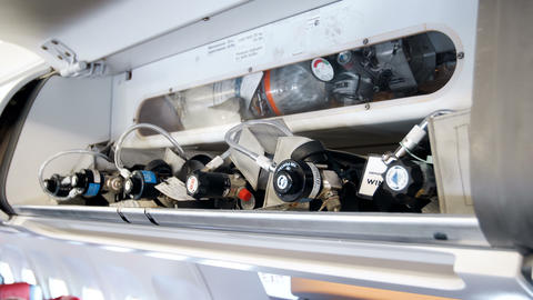 Closeup 4k video of high pressure safety oxygen cylinders for emergency cases in Footage
