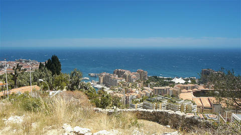 Mediterranean coastline at Monaco, Cote D'Azur France Live Action