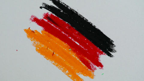 Process of drawing the flag of Germany with pastel pencils Footage