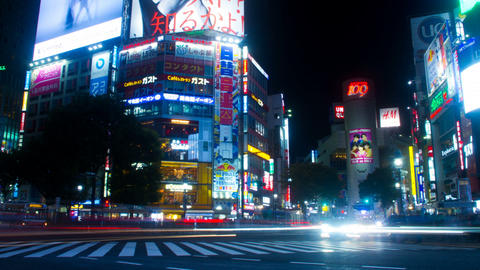 Night hyper lapse slow shutter at Shibuya crossing slow shutter Footage