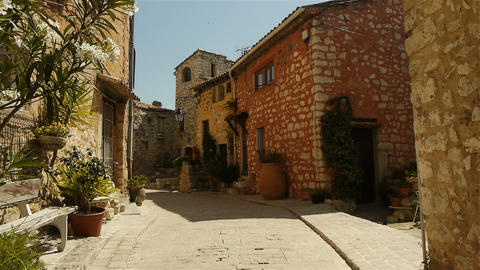 Romantic small street at Tourrettes sur Loup, South France Stock Video Footage