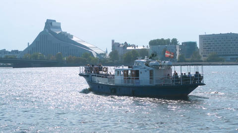 Motor boat cruise ship on the river carrying tourists, small river ferry weekend Footage