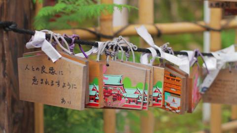Votive tablets at Nezu shrine medium shot shallow focus mild wind Live Action