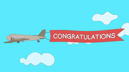 Airplane is passing through the clouds with Congratulations banner - Seamless Animation