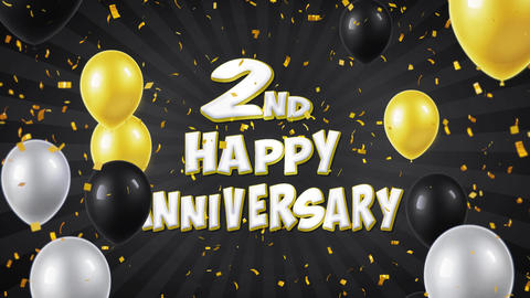 3. 2nd Happy Anniversary Black Greeting and Wishes with Balloons, Confetti Footage