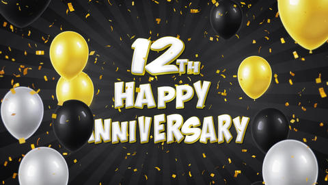 23. 12th Happy Anniversary Black Greeting and Wishes with Balloons, Confetti Footage