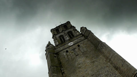 Tower of an old french church, time lapse Footage