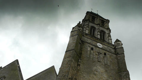Tower of an historic french church, time lapse Footage