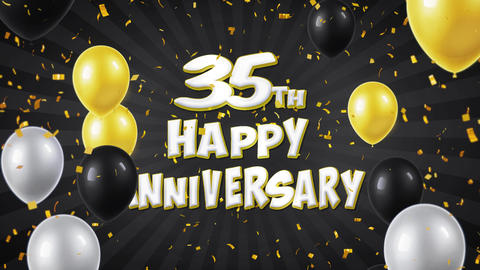 45. 35th Happy Anniversary Black Greeting and Wishes with Balloons, Confetti Footage