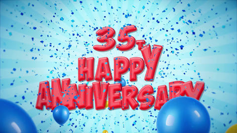 46. 35th Happy Anniversary Red Greeting and Wishes with Balloons, Confetti Footage