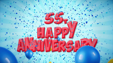 54. 55th Happy Anniversary Red Greeting and Wishes with Balloons, Confetti Footage
