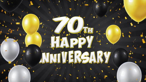 59. 70th Happy Anniversary Black Greeting and Wishes with Balloons, Confetti Footage