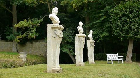 Sculptures at Canon Castle garden, France Live Action