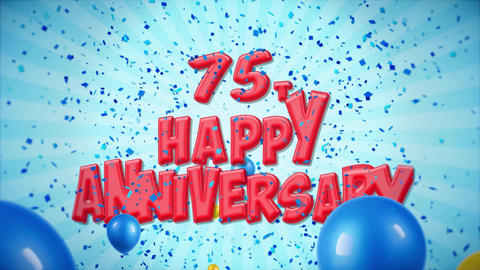 62. 75th Happy Anniversary Red Greeting and Wishes with Balloons, Confetti Footage