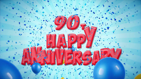 68. 90th Happy Anniversary Red Greeting and Wishes with Balloons, Confetti Footage