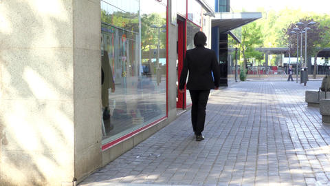 Businessman Walks To Interview On Commercial Street Footage