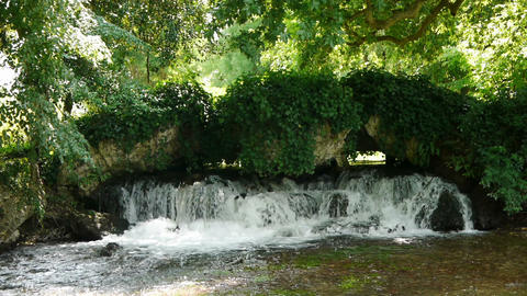 Waterfall at Acquigny castle garden, France Footage