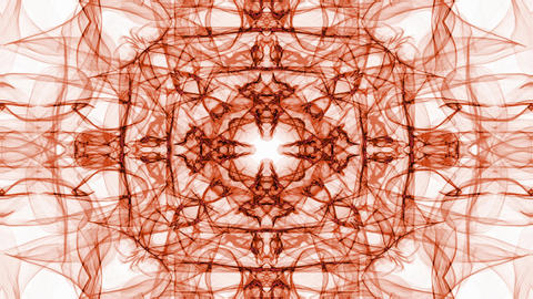 Abstract orange fractal patterns on white background. Vintage ornament in tunnel Animation