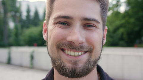 Happy Smiling Man with Beard in Town Photo
