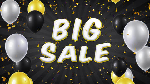 01. Big Sale Text with Balloons, Confetti Looped Motion Footage