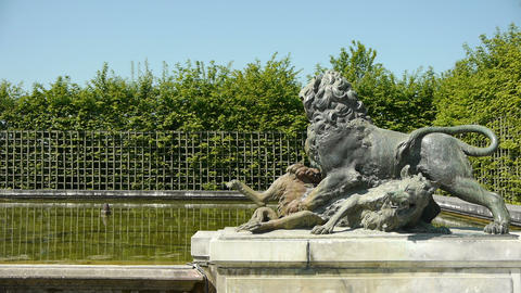 Pond with a lion sculpture at Versailles. France Footage