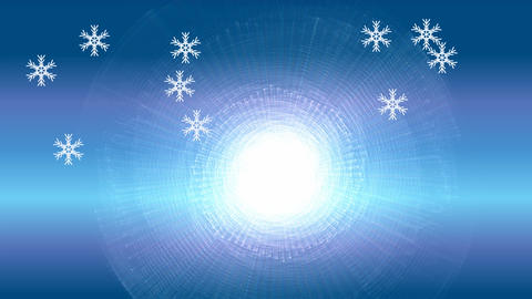 Snowflake particles on blue gradient background. Flying snow on winter Animation