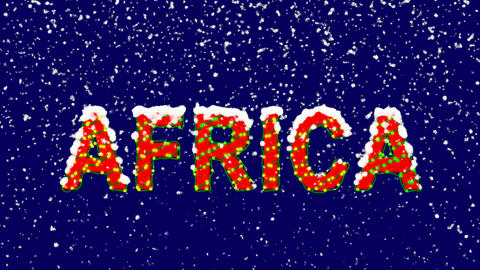 New Year text continent name AFRICA. Snow falls. Christmas mood, looped video. Animation
