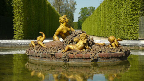 Fountain of Flora, seasonal pond at Versailles. France Footage