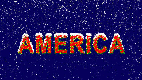 New Year text continent name AMERICA. Snow falls. Christmas mood, looped video. Animation